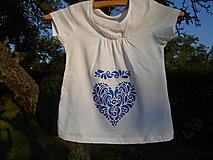 Detské oblečenie - blue folk heart-tričko srdce-modré-deti - 13570239_