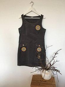 Šaty - Šatová suknička šedá z pracieho kordu veľ.40 - 13572199_