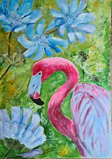 Obrazy - Modré nevädze a ružový plameniak - 13570549_