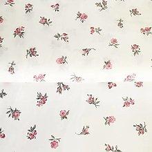 Textil - ružové ružičky, 100 % bavlna, šírka 140 cm - 13571571_