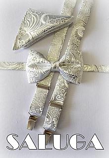 Doplnky - Pánsky strieborný svadobný set - luxusný - 13571593_
