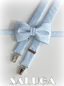 Doplnky - Svadobný set - motýlik a traky - modrý - luxusný - 13571613_
