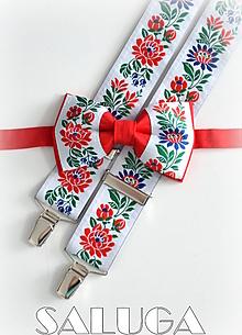 Doplnky - Folklórny pánsky červený motýlik a traky - folkový - 13571645_