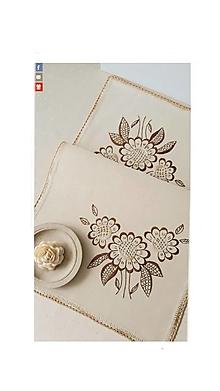Úžitkový textil - Prestieranie hnedé kvety, 39 x 75 cm, vyšívané - 13570369_
