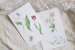 Kresby - Akvarelový art print   Jarné kvietky - 13571799_