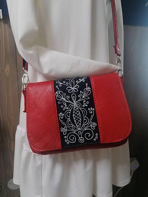 Modrotlačová kožená kabelka Eliška červená AM 1