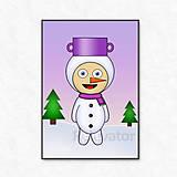 Grafika - Vianočná grafika detské kostýmy - snehuliak (zimná krajinka) - 13572291_