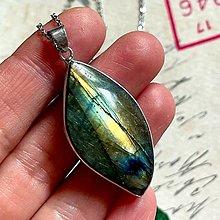 Náhrdelníky - Labradorite Steel Necklace / Oceľový náhrdelník s labradoritom - 13573149_