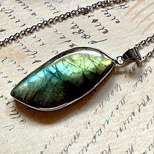 Náhrdelníky - Labradorite Steel Necklace / Oceľový náhrdelník s labradoritom - 13573215_
