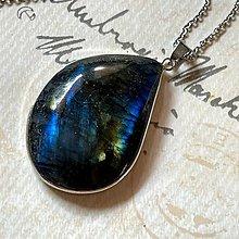 Náhrdelníky - Labradorite Steel Necklace / Oceľový náhrdelník s labradoritom - 13573256_