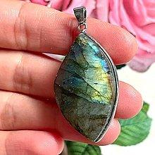 Náhrdelníky - Labradorite Steel Necklace / Oceľový náhrdelník s labradoritom - 13573267_