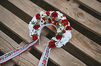 Ozdoby do vlasov - Folklórna svadobná kvetinová parta - 13573659_