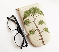 Taštičky - Puzdro na okuliare maľované- Borovica strom - 13573300_