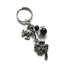 """Kľúčenky - Kľúčenka """"štvorlístok"""" s anjelikom (čierna) - 13575130_"""