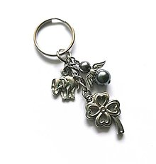 """Kľúčenky - Kľúčenka """"štvorlístok"""" s anjelikom (šedá) - 13575135_"""