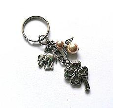 """Kľúčenky - Kľúčenka """"štvorlístok"""" s anjelikom (zlatohnedá) - 13575140_"""