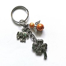 """Kľúčenky - Kľúčenka """"štvorlístok"""" s anjelikom (oranžová) - 13575141_"""