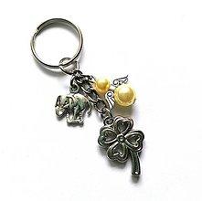 """Kľúčenky - Kľúčenka """"štvorlístok"""" s anjelikom (žltá) - 13575142_"""