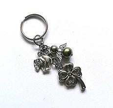 """Kľúčenky - Kľúčenka """"štvorlístok"""" s anjelikom (oliva) - 13575145_"""