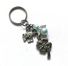 """Kľúčenky - Kľúčenka """"štvorlístok"""" s anjelikom (tyrkys svetlý) - 13575146_"""