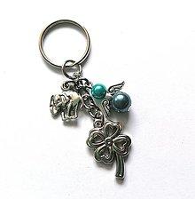 """Kľúčenky - Kľúčenka """"štvorlístok"""" s anjelikom (tyrkys) - 13575147_"""