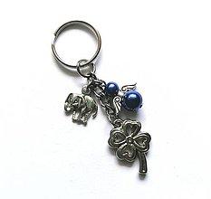 """Kľúčenky - Kľúčenka """"štvorlístok"""" s anjelikom (modrá) - 13575149_"""