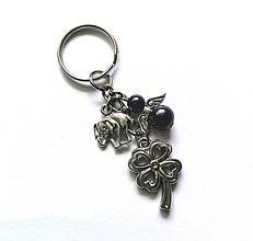 """Kľúčenky - Kľúčenka """"štvorlístok"""" s anjelikom (fialová tmavá) - 13575150_"""