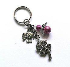 """Kľúčenky - Kľúčenka """"štvorlístok"""" s anjelikom (ružovofialová) - 13575156_"""