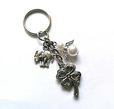"""Kľúčenky - Kľúčenka """"štvorlístok"""" s anjelikom (biela) - 13575159_"""