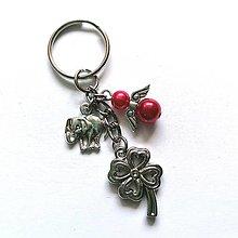 """Kľúčenky - Kľúčenka """"štvorlístok"""" s anjelikom (červenoružová) - 13575160_"""