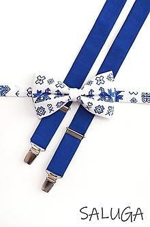 Doplnky - Pánsky motýlik a traky - ČIČMANY - kráľovsky modrý - 13573914_