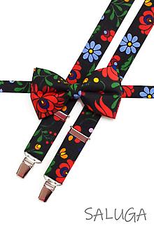 Doplnky - Pánsky folklórny motýlik a traky - čierny - set - ľudový - kvetinový - 13573920_