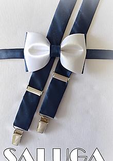 Doplnky - Bielo modrý pánsky motýlik + traky - 13573926_