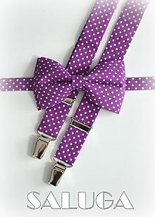 Doplnky - Pánsky motýlik a traky - ultra violet - fialový - bodkovaný - 13573962_
