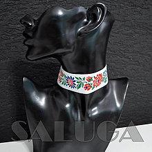 Náhrdelníky - CHOKER náhrdelník - folk - folklórny - biely - 13574061_