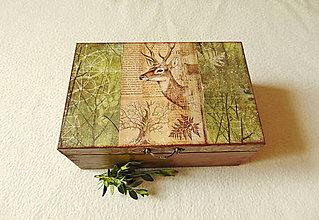 Krabičky - Drevená krabička V lese - 13574322_