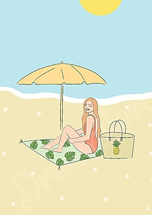 "Grafika - Ilustrácia "" Deň na pláži"" - 13574321_"