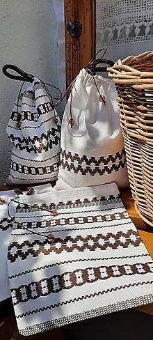 Úžitkový textil - Bavlnené folk vrecúška_hnedobiele - 13574468_