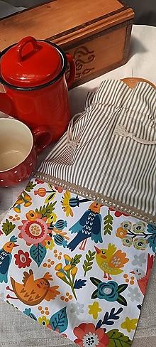 Úžitkový textil - Dvojvrstvové vrecko na veľký chlieb a pečivo_folk - 13574697_
