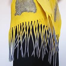 Šály - Šál žlto šedý strapcový - 13572796_