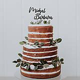 Dekorácie - Zápich na tortu - Svadobné mená (Typ 3) - 13574139_