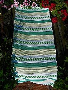 Úžitkový textil - Tkaný koberec žlto-zeleno-biely - 13573834_