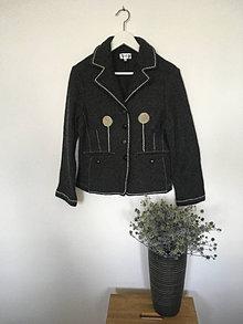 Kabáty - Vlnené sako s aplikáciami veľ.36-38 - 13575992_