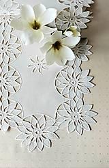 Úžitkový textil - Richellieu - Kvety- biela,  90 x 34 cm - 13575628_