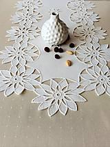 Úžitkový textil - Richellieu - Kvety- biela,  90 x 34 cm - 13575629_