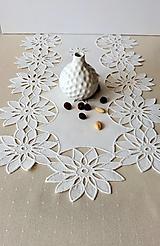 Úžitkový textil - Richellieu - Kvety- biela,  90 x 34 cm - 13575630_