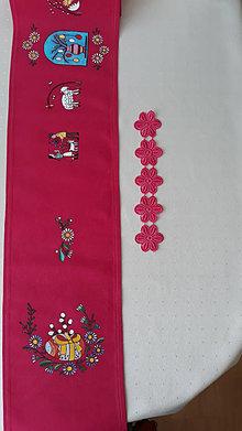 Úžitkový textil - Maľovaný stredový obrus - ružový, 136 x 20 cm - 13575575_