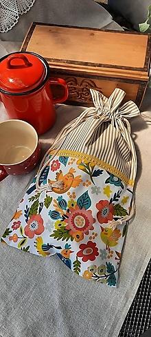 Úžitkový textil - Dvojvrstvové vrecko na veľký chlieb a pečivo_folk II. - 13576018_