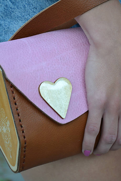 Listová kabelka Srdce Liptova ružovo-hnedá