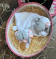 Hračky - baby SET 2 ks - ovečka Ňuňu - v ružovom - 13578667_